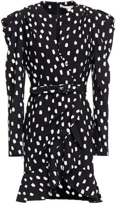 Jonathan Simkhai Wrap-effect Belted Polka-dot Crepe Mini Dress