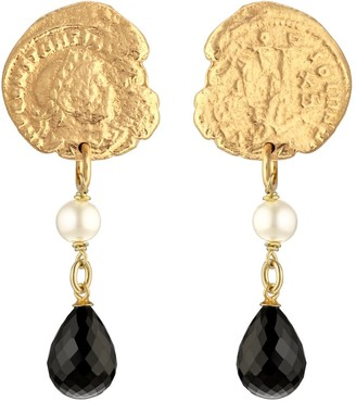 Constantine Gold & Onyx Coin Earrings