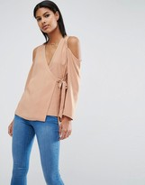 Asos Wrap Blouse with Cold Shoulder