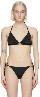 Versace Underwear Black Medusa Ring Bikini Top