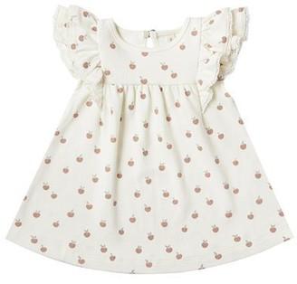 Quincy Mae Flutter Dress - Ivory / Peach - 12 - 18 Months