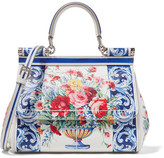Dolce & Gabbana Sicily Small Printed Textured-leather Tote - White