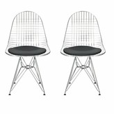 Everly Dearing Upholstered Dining Chair Quinn Color: Chrome, Upholstery Color: Black