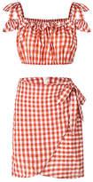Yokodea Women's Casual Skirts RedWhite - Red & White Gingham Crop Top & Wrap Skirt - Women & Juniors