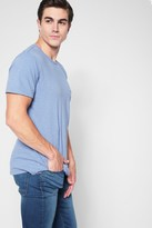 7 For All Mankind Short Sleeve Raw Pocket Crew In Dusty Light Blue