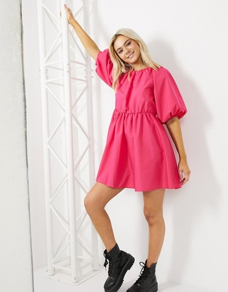 ASOS DESIGN cotton poplin smock mini dress in hot pink
