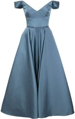 Marchesa off the shoulder flared gown