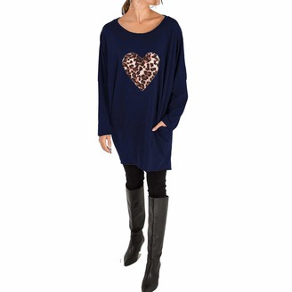 Xpose Ladies Oversized Plus Size Leopard Print Heart Motif Batwing Loose Fit Sweatshirt Top Dress with Pockets Black Charcoal Mustard Khaki Navy Rust Wine 8 10 12 14 16 18 (Navy S/M (8/10))