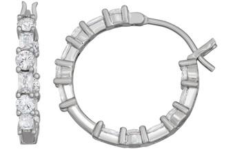 Contessa Di Capri Sterling Silver Cubic Zirconia Hoop Earrings