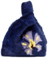 Simonetta Ravizza Furrissima Flower-Print Mink Fur Bag, Navy