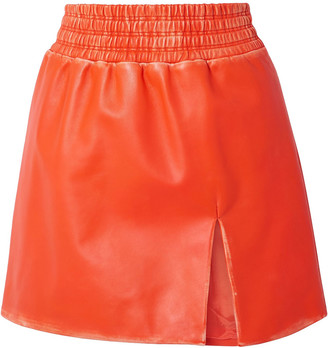 Miu Miu Distressed Leather Mini Skirt