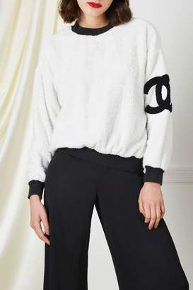Chanel White 'CC' Terry Cloth Sweater