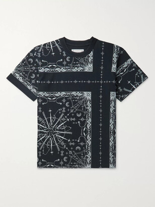 Sacai Dr. Woo Bandana-Print Cotton-Jersey T-Shirt - Men - Blue
