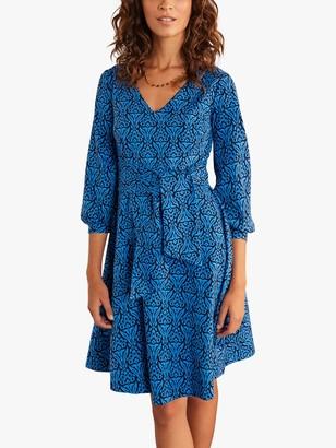 Boden Benedicta Floret Stamp Skater Dress, Blue