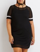 Charlotte Russe Plus Size Mesh Football Stripe T-Shirt Dress