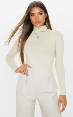 PrettyLittleThing Sand Cotton Funnel Neck Long Sleeve Top