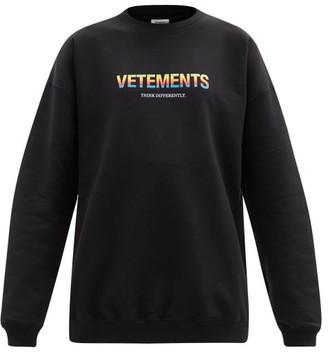Vetements Think Differently-print Cotton-blend Sweatshirt - Black