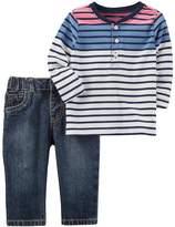 Carter's Baby Boy Striped Henley & Jeans Set