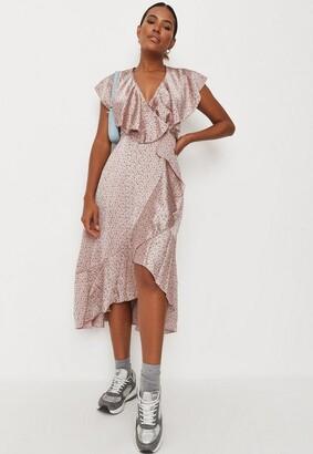 Missguided Blush Polka Dot Satin Ruffle Tea Dress