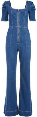 Alice + Olivia Jeans Kennedy Puff-Sleeve Denim Jumpsuit