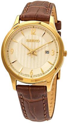 Seiko Quartz Off White Dial Brown Leather Ladies Watch SXDG96