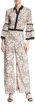 Lela Rose Full-Sleeve Piped Lace Jumpsuit