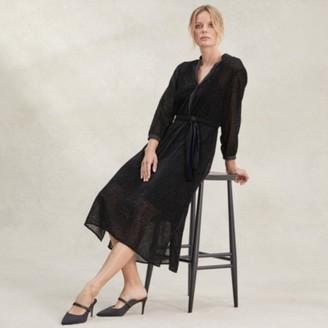 The White Company Velvet Devore Midi Dress , Black, 8