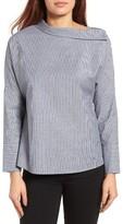 Gibson Petite Women's Asymmetrical Collar Stripe Top
