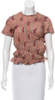 Junya Watanabe Ruche-Accented Floral Print Top