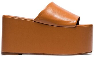 Simon Miller camel brown Blackout 110 leather flatform sandals