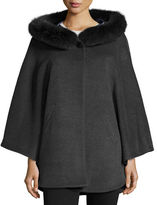 Sofia Cashmere Fur-Trim Hooded Capelet