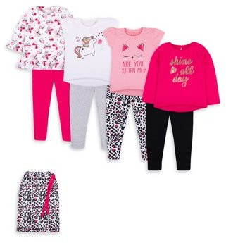 Little Star Organic Baby Toddler Girl Mix & Match Outfits, 8pc Gift Set