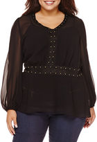Bisou Bisou Long-Sleeve Studded Peplum Blouse - Plus