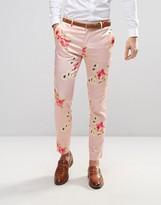 Asos Wedding Skinny Smart Trousers In Pink Floral Print