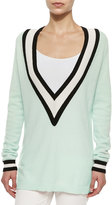 Minnie Rose Striped Cashmere V-Neck Varsity Sweater