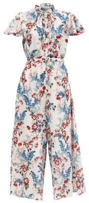 Erdem Ellamay Belted Bird Blossom-print Silk Jumpsuit - White Print