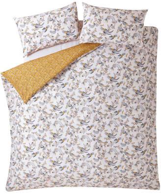 Fat Face Oriental Bird Quilt Duvet Cover Set - Mustard - Double