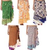 Wrap Around Skirt Wholesale lot of 5 Pcs Printed Reversible Two Layer By Rajrang