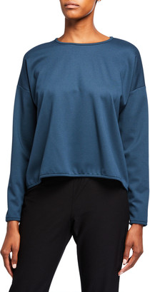 Eileen Fisher Crewneck Long-Sleeve Travel Ponte Top