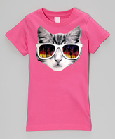 Micro Me Hot Pink Sunglasses Kitty Fitted Tee - Infant Toddler & Girls