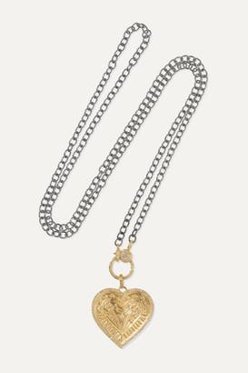 Ileana Makri Promise Heart 18-karat Gold And Oxidized Sterling Silver Diamond Necklace - one size