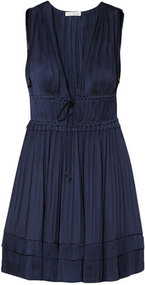 Ulla Johnson Cutout Pleated Satin Mini Dress
