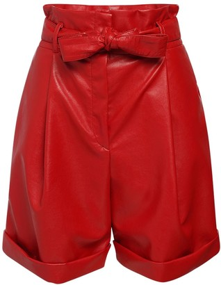 Philosophy di Lorenzo Serafini High Waist Faux Leather Shorts W/ Belt