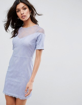 Asos Design Lace T-Shirt Dress With Sweetheart Neckline-Blue