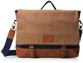 Original Penguin Men's Canvas/Leather Flap Messenger Bag
