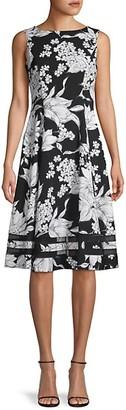 Calvin Klein Moody Floral-Print A-Line Dress