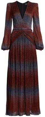 PatBO Rainbow Lurex Long-Sleeve Gown