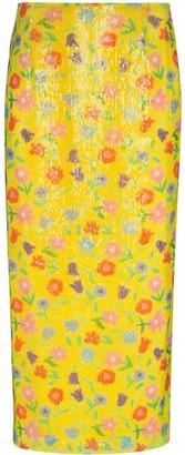 BERNADETTE Sequinned Floral-Print Midi Skirt