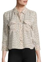 Equipment Cropped Signature Leopard-Print Silk Blouse