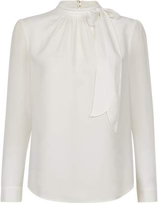 Dorothy Perkins Womens Ivory Pussybow Long Sleeve Blouse